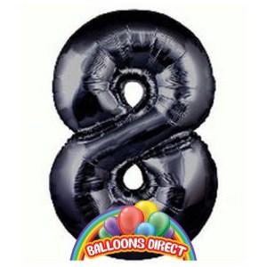 """black number 8 large 34"""" foil balloon"""