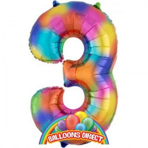 """rainbow number 3 large 34"""" foil balloon"""