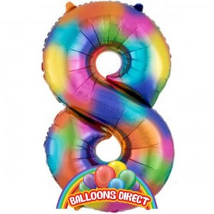 """rainbow number 8 large 34"""" foil balloon from BalloonsDirect.ie"""