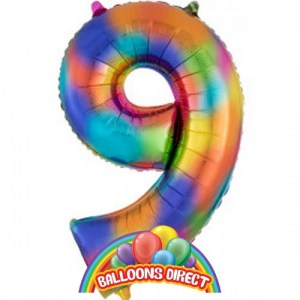 """rainbow number 9 large 34"""" foil balloon"""