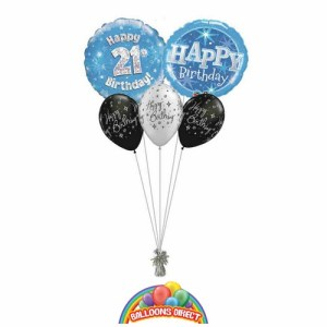 21st birthday blue bouquet from balloonsdirect.ie