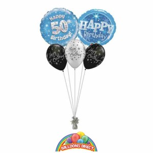 50th birthday blue bouquet from balloonsdirect.ie