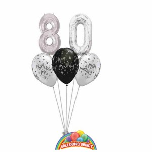 80th birthday balloon bouquet from balloonsdirect.ie