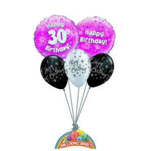 30th birthday pink balloon bouquet from balloonsdirect.ie