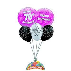70th pink birthday balloon bouquet for ladies or girls from balloonsdirect.ie
