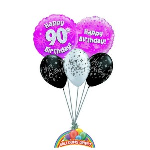90th pink birthday balloon bouquet for ladies or girls from balloonsdirect.ie