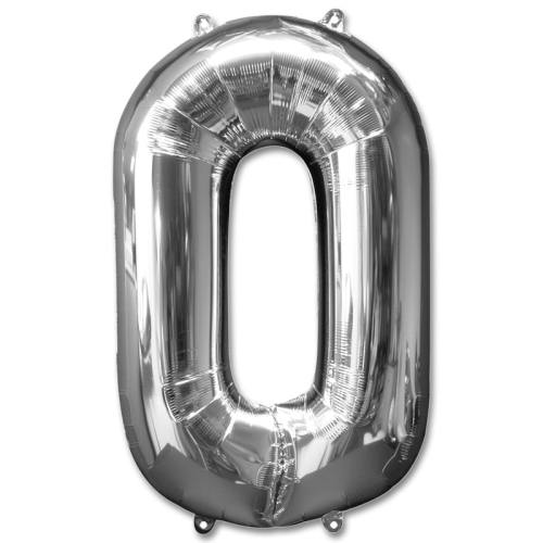 Number 0 Silver Jumbo Foil Balloon from Balloons Shop NYC
