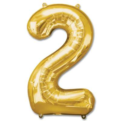 Number 2 Gold Jumbo Foil Balloon from Balloons Shop NYC