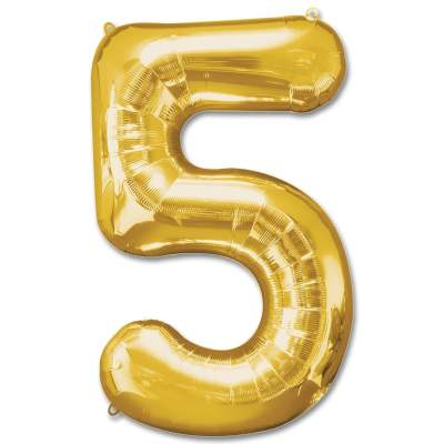 Number 5 Gold Jumbo Foil Balloon from Balloons Shop NYC
