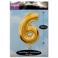 6 Gold Number Foil Balloon Not Inflated from Balloon Shop NYC