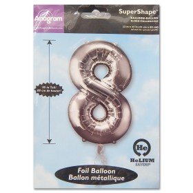 8 Silver Number Foil Balloon Not Inflated from Balloon Shop NYC