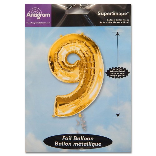 9 Gold Number Foil Balloon Not Inflated from Balloon Shop NYC