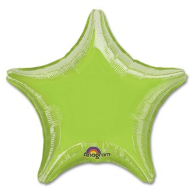 Lime Green Star Solid Color Foil Party Balloon 19 inch from Balloon Shop NYC