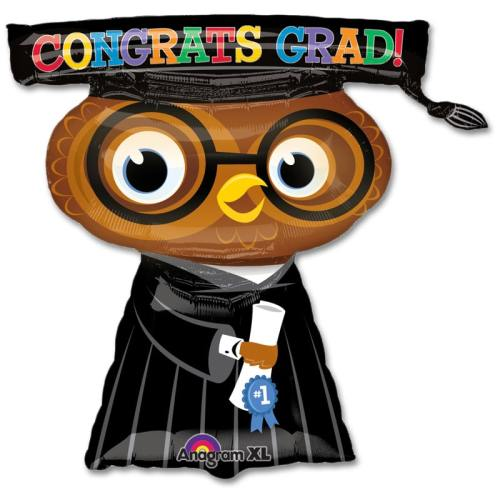 Congats Grad Owl 26 inch Mylar Party Balloon from Balloons Shop NYC