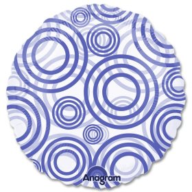 Circles Blue Clear Mylar 18 inch Balloon from Balloons Shop NYC