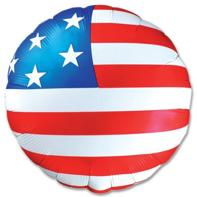 American Flag Patriotic Round Mylar Balloon 18 inch Inflated delivery from Balloon Shop NYC