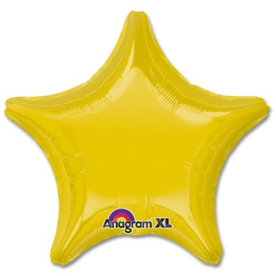 Yellow Star Solid Color Foil Party Balloon 19 inch from Balloon Shop NYC