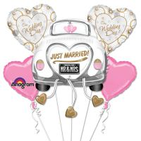 Just Married Mylar Party Balloon Bouquet Inflated Delivery from Balloons Shop NYC