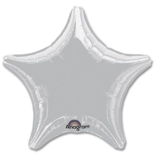 Metallic Silver Star Solid Color Foil Party Balloon 19 inch from Balloon Shop NYC