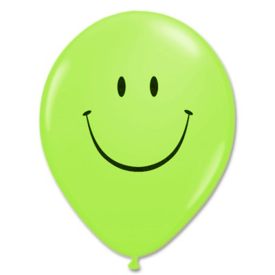 Smile Face Lime Green Latex 12 inch Party Balloon from Balloon Shop NYC