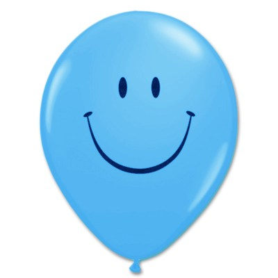 Smile Face Robins Egg Blue Latex 12 inch Party Balloon from Balloon Shop NYC
