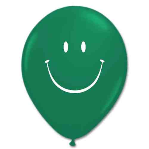 Smile Face Emerald Green Latex 12 inch Party Balloon from Balloon Shop NYC