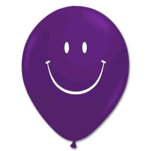 Smile Face Quartz Purple Latex 12 inch Party Balloon from Balloon Shop NYC