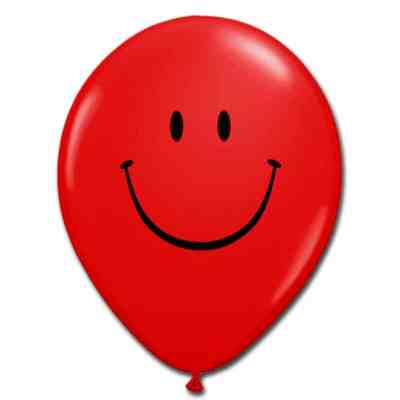 Smile Face Ruby Red Latex 12 inch Party Balloon from Balloon Shop NYC