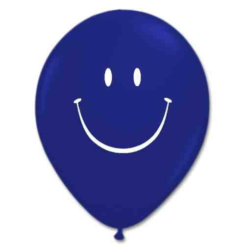 Smile Face Sapphire Blue Latex 12 inch Party Balloon from Balloon Shop NYC