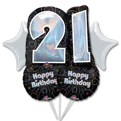 21st Birthday Mylar Balloon Bouquet Inflated with Helium high-quality cheap balloons nyc delivery