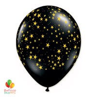 Black Gold Stars Latex Party Balloon 12 inch delivery Balloons Shop NYC