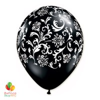 Black White Damask Print Latex Party Balloon 12 inch delivered Balloons Shop NYC