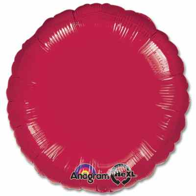 Burgundy Circle 18 Mylar Party Balloon from Balloons Shop NYC
