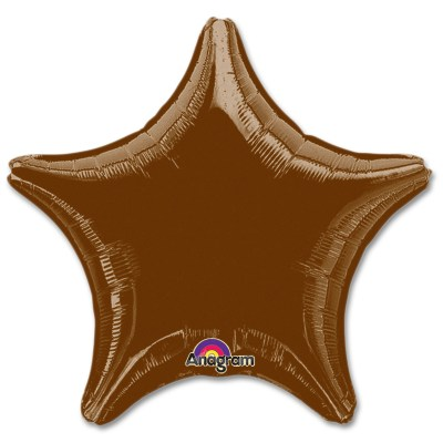 Chocolate Brown Star Solid Color Foil Party Balloon 19 inch from Balloon Shop NYC