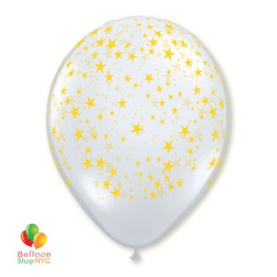 Clear White Gold Stars Latex Party Balloon 12 inch Inflated high-quality cheap balloons nyc delivery