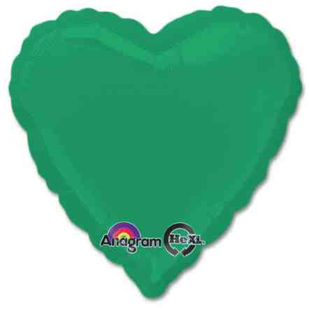 Emerald Green Heart Shape 18 Inch Mylar Party Balloon from Balloons Shop NYC