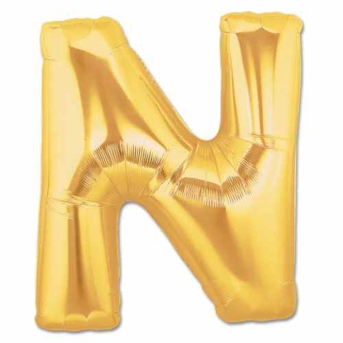 Jumbo Foil Gold 40 inch Letter N Balloon from Balloons Shop NYC