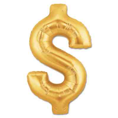 Jumbo Foil Gold 40 inch $ Sign Balloon from Balloons Shop NYC