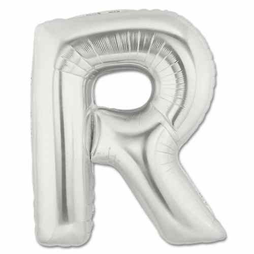 Large Silver Mylar Letter Balloon 40 Inch Letter R from Balloons Shop NYC