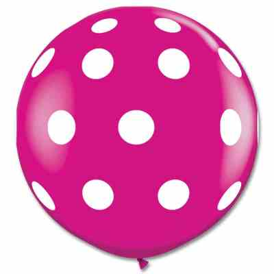 Latex Party Balloon 36 Inch Round Wild Berry Polka Dots from Balloons Shop NYC