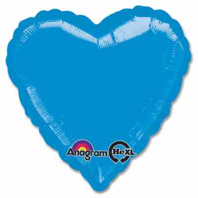 Metallic Blue Heart Shape 18 Inch Mylar Party Balloon from Balloons Shop NYC