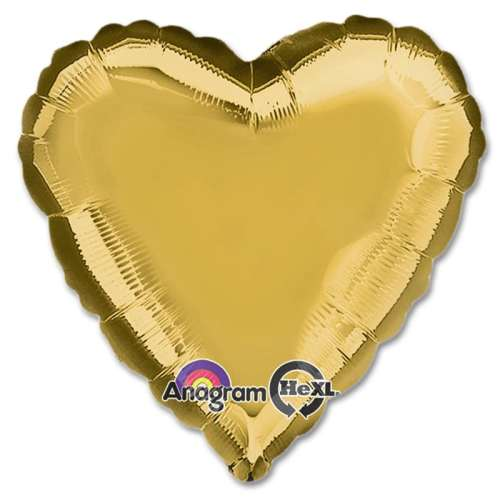 Metallic Gold Heart Shape 18 Inch Mylar Party Balloon from Balloons Shop NYC