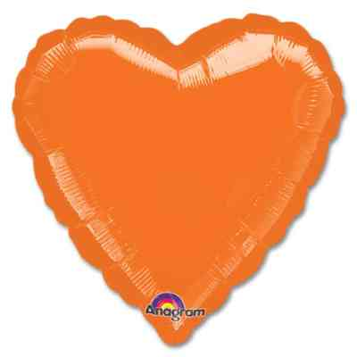 Metallic Orange Heart Shape 18 Inch Mylar Party Balloon from Balloons Shop NYC