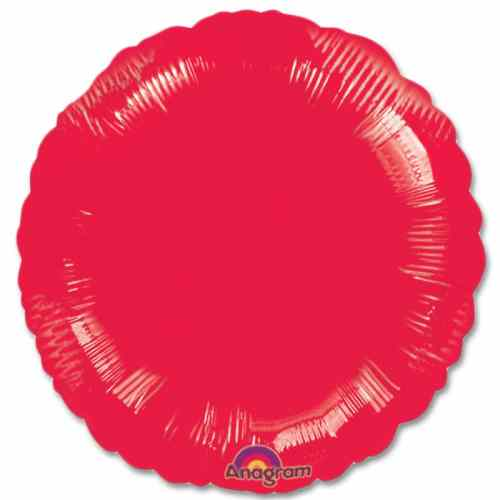 Metallic Red Circle 18 Mylar Party Balloon from Balloons Shop NYC