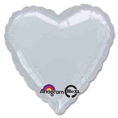 Metallic Silver Heart Shape 18 Inch Mylar Party Balloon from Balloons Shop NYC
