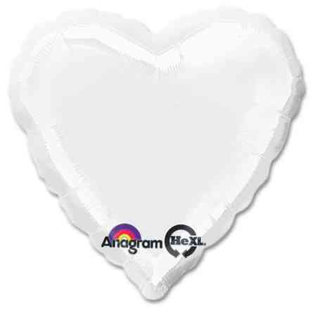 Opaque White Heart Shape 18 Inch Mylar Party Balloon from Balloons Shop NYC