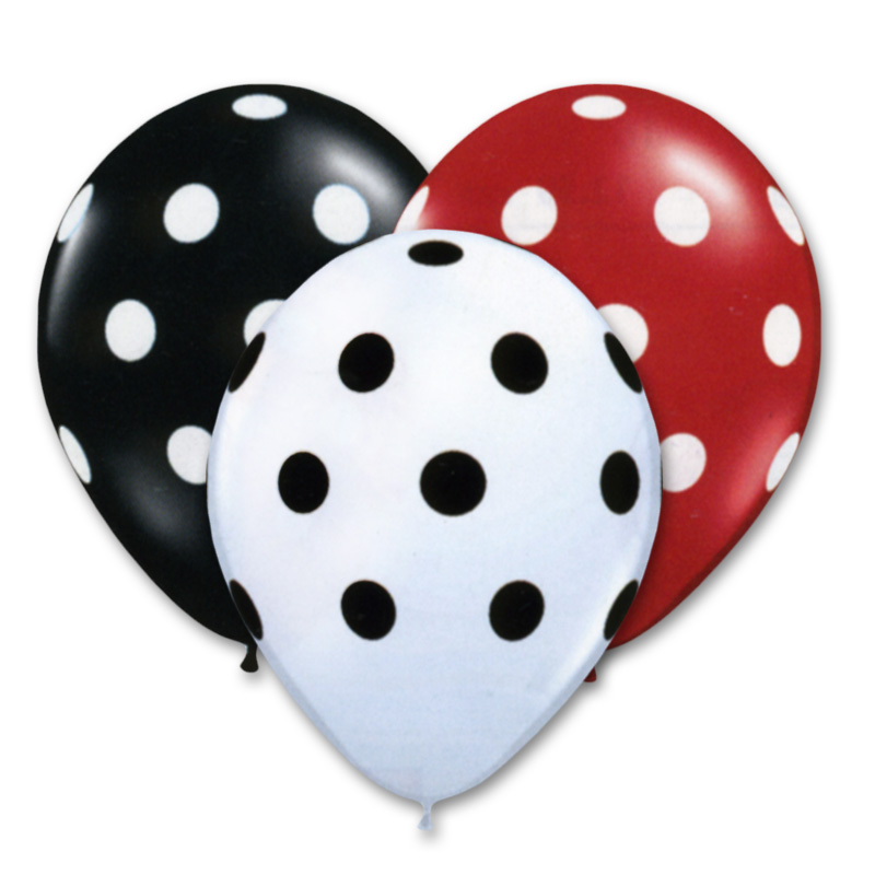 Black Red White Polka Dots 12 Inch Latex Balloons Bouquet Balloon
