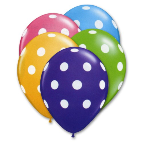 Tropical Assortment Latex Party Balloons Polka Dot 12 inch from Balloon Shop NYC