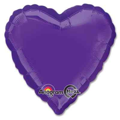 Quartz Purple Heart Shape 18 Inch Mylar Party Balloon from Balloons Shop NYC