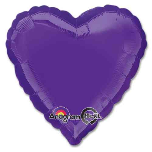 Quartz Purple Heart Shape 18 Inch Mylar Party Balloon from Balloons Shop NYC